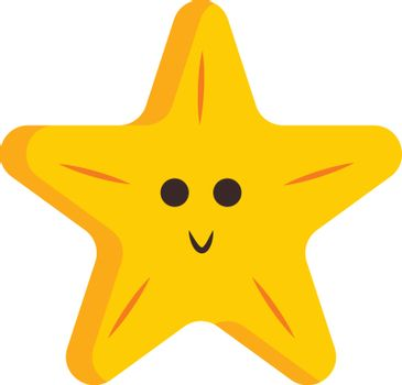 A five-pointed yellow cartoon star smiling vector or color illus