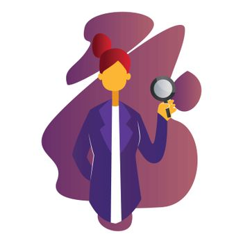 Pinkish modern vector illustration of a female doctor on white b