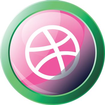 Green and pink vector icon illustration of a Dribble platform lo