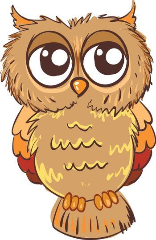 Sad owl illustration vector on white background