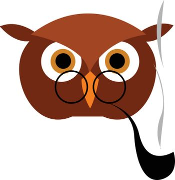 Smoking owl illustration vector on white background