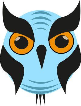 Blue owl illustration vector on white background