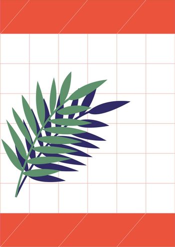 An abstract plant in green color with its shadow in blue color vector color drawing or illustration