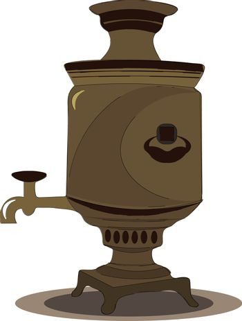 An ancient looking samovar vector or color illustration