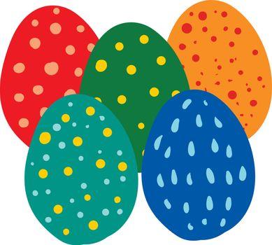 Multi-color Easter eggs vector or color illustration