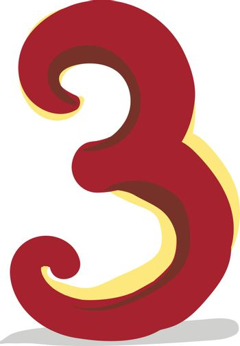 Clipart of the numerical number three or 3 in red color  vector