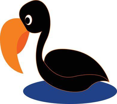 Cartoon black bird vector or color illustration