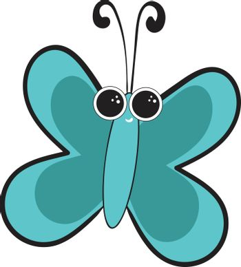 Portrait of a blue butterfly vector or color illustration