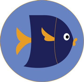 Portrait of a dark blue fish over blue background vector or colo