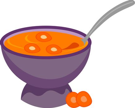 Painting of a giant purple bowl filled with carrot soup vector o