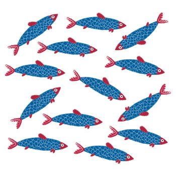 Minimalistic drawing of a regular pattern of blue fish vector or