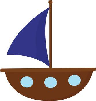 Portrait of a brown cartoon boat vector or color illustration