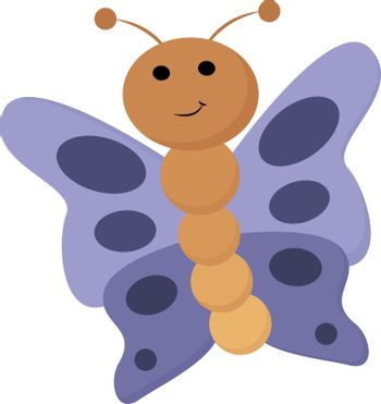 Portrait of a brown butterfly vector or color illustration