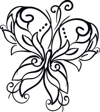 Line art of a décor butterfly vector or color illustration