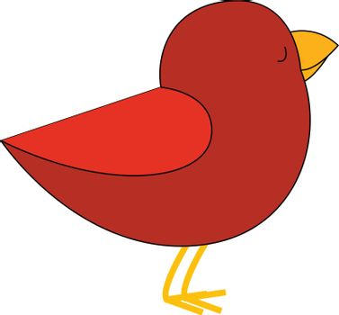 Cartoon red bird set on isolated white background viewed from th