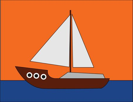 Portrait of a boat sailing across the sea over an orange backgro