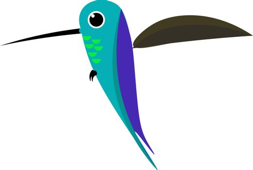 Cartoon colorful colibri bird vector or color illustration