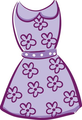 A showcase purple-colored floral dress over white background vec