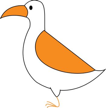 Clipart of a white-colored bird  vector or color illustration