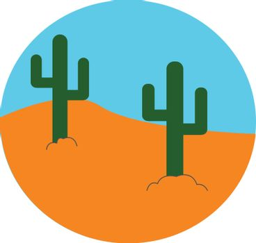 The landscape of a desert with two cactus plants vector or color