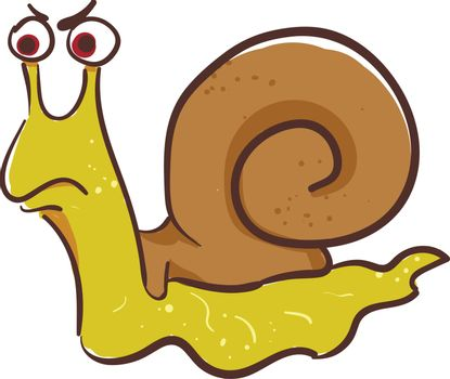 Painting of an angry snail vector or color illustration
