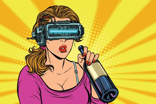 VR glasses. Woman drinking wine from a bottle. Loneliness and sa