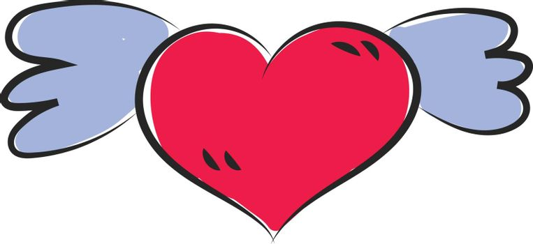 Cartoon funny red heart with blue wings symbolizes love  vector  color drawing or illustration