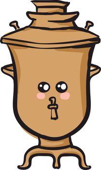 Emoji of a cute samovar vector or color illustration