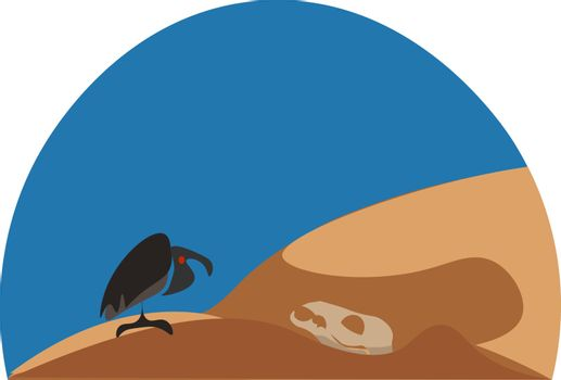 Wild landscape with an eagle perched on the desert vector or col