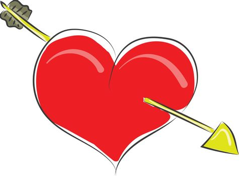Clipart of a red heart struck with an arrow vector or color illu