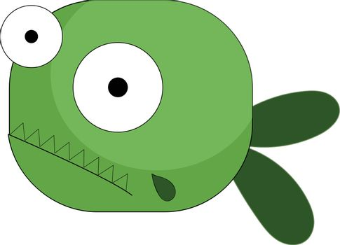 Cartoon green fish with two bulging eyes vector or color illustr