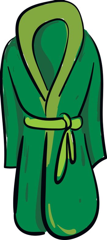 Clipart of a showcase green-colored bathrobe over white backgrou