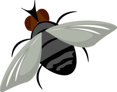 Painting of a brown housefly set on isolated white background vi