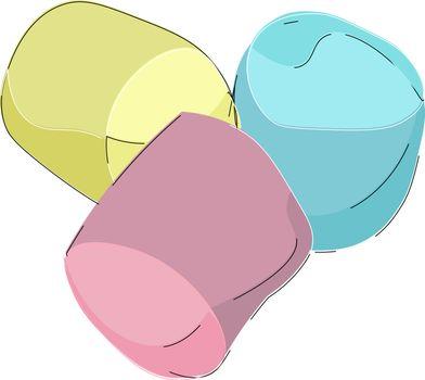 Cartoon picture of three marshmallows vector or color illustrati