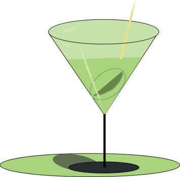Green-colored martini drink filled in elegant party glassware ve