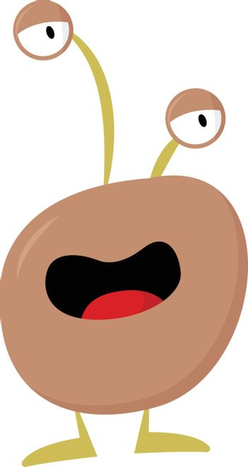 Cartoon funny monster with two bulging eyes vector or color illu
