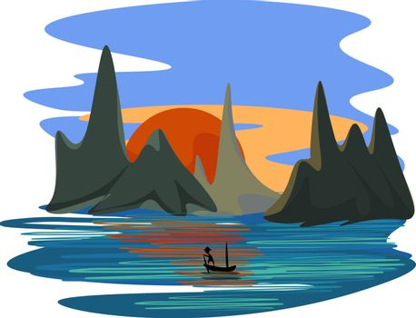 Beautiful landscape of a fisherman sailing across the sea during