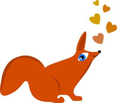 Cartoon orange fox admiring the drifting colorful hearts above i
