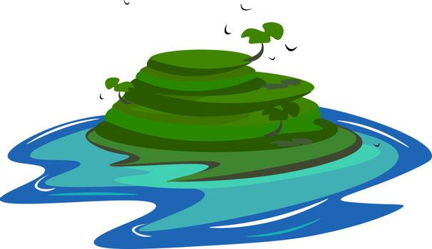 Painting of an island vector or color illustration