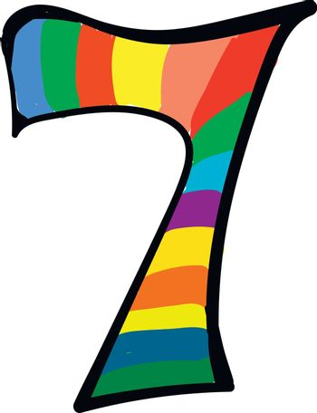 Clipart of the numerical number seven or 7 in a range of multipl