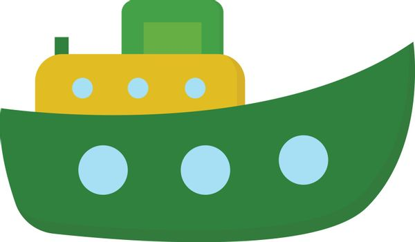 Cute cartoon steamboat ship/Funnel (ship) vector or color illust