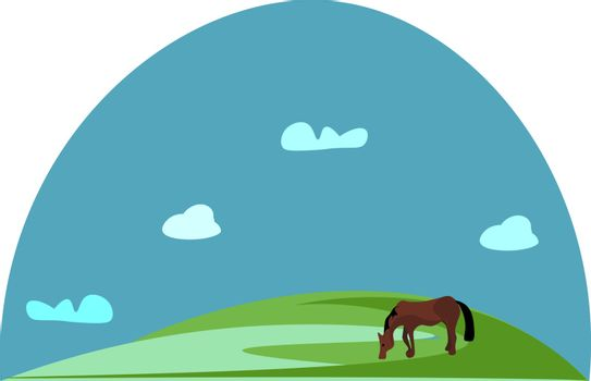 Portrait of a grazing brown horse in green grasslands vector or