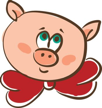 Drawing of the face of a pink pig in a red-colored neck bowtie v