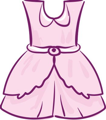 A showcase pink-colored frock for girl children vector or color
