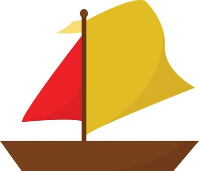 Clipart of a boat in red and yellow color vector or color illust