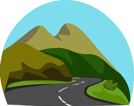 Portrait of a mountainous road vector or color illustration