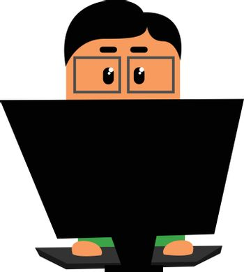 Clipart of an officer working in his laptop set on isolated whit