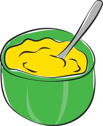 Cartoon giant green bowl filled with mashed potatoes vector or c