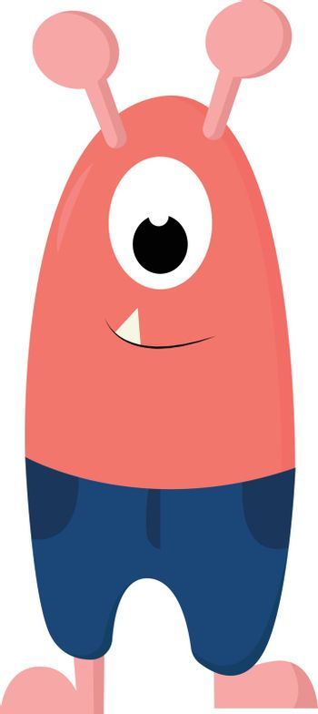 Cartoon funny one-eyed pink monster in blue shorts vector or col