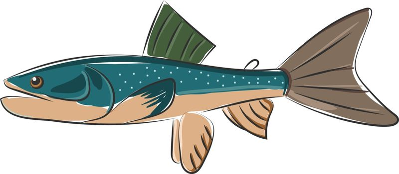 Cartoon blue-colored palia fish set on isolated white background